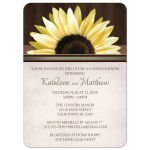 Couples Shower Invitations - Country Sunflower Over Wood Rustic