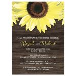 Couples Shower Invitations - Rustic Sunflower and Wood
