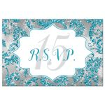 Great winter wonderland Quinceanera birthday party RSVP postcard in turquoise blue, silver and white snowflakes and glitter damask