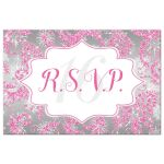 Great winter wonderland sweet sixteen birthday party rsvp post card in pink, silver and white snowflakes and glitter damask