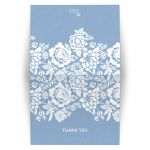 Folded Thank You Card - Modern Wedding Blue Floral Damask