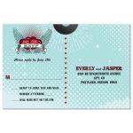 Wedding Reply RSVP Postcard - Polka Dot Rockabilly Music