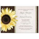 Couples Shower Invitations - Country Sunflower Wood Brown Green