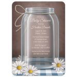 Baby Shower Invitations - Mason Jar Daisy Blue Gingham