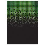 Lime green black pixelated digital techno font video game theme Bar Mitzvah invitation back