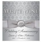 25th wedding anniversary wine bottle label in silver damask with ribbon and bow