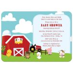 On the farm barn animals baby shower invitations