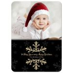 Customizable Photo Christmas Card With Sparkling Gold Snowflake