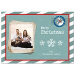 Teal and White Winter Stripes Holiday Photo Card