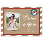 Beige and White Winter Stripes Holiday Photo Card