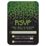 ​Video game pixel graphic green black Bar Mitzvah RSVP reply card front