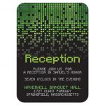 ​Video game pixel graphic green black Bar Mitzvah reception card front