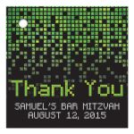 Video game pixel graphic green black Bar Mitzvah favor tags