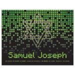 Video game pixel graphic green black Bar Mitzvah thank you postcard front