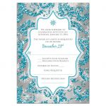 Great winter wonderland Quinceanera birthday party RSVP card in turquoise blue, silver and white snowflakes and glitter damask