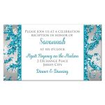 Great winter wonderland Quinceanera birthday party reception enclosure card in turquoise blue, silver and white snowflakes and glitter damask