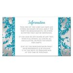 Best aqua teal, silver, white snowflakes mis quince anos 15th birthday party reception card insert with glitter