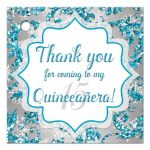 Great winter wonderland Quinceanera birthday party favor tag in turquoise blue, silver and white snowflakes and glitter damask