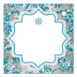 Best aqua teal, silver, white snowflakes mis quince anos 15th birthday party favor tags with glitter