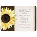 Bridal Shower Invitations - Country Sunflower Wood Brown Green