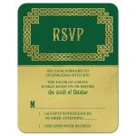 Green and gold Irish celtic love knot and claddagh wedding RSVP card front