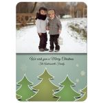 ​Retro inspired jolly Christmas trees and snowflakes and photo template