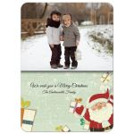 Adorable Cartoon Santa With Family Photo Template