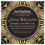 Art Deco Gold Black Adult Birthday Invitation