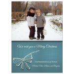 Christmas Teal Bow Photo Template Card