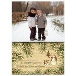 Rustic Snowmen Photo Template Holiday Greeting Card