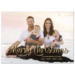 Sparkly Gold Merry Christmas Photo Card Template
