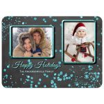 ​Chalkboard With Sparkly Blue Confetti Merry Christmas Photo Card Template