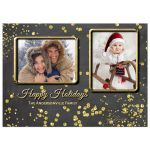 Sparkly Gold Confetti Happy Holidays Photo Card Template