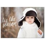 Brush Script Tis The Season Holiday Christmas Photo Card