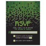 Video game pixel graphic green black Bar Mitzvah RSVP reply card front V1