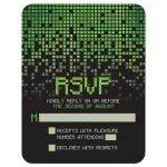 ​Video game pixel graphic green black Bar Mitzvah RSVP reply card front V1
