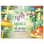 Mad hatter Alice in Wonderland Bat Mitzvah RSVP reply postcard front