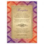 Best purple and orange damask wedding reception enclosure card with gold glitter and scroll