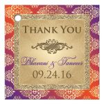Best purple and orange damask wedding  favor tags with gold glitter and scroll