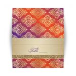 Best purple and orange damask wedding place cards with gold glitter