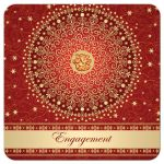 Best red, orange and gold engagement ceremony invitation with scrolls, stars, dots, and Ganesh