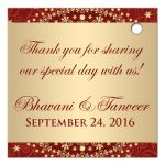 Best red and gold Circle of Love east indian Hindu personalized wedding favor thank you tag with scrolls, swirls, hearts and stars