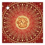 Best red and gold Circle of Love east indian Hindu wedding favor thank you tag with scrolls, swirls, hearts and stars and Hindu god Ganesha.