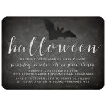Chalkboard & Bat Silhouette Halloween Party Invitations