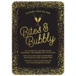 Golden Confetti Bites & Bubbly New Year's Eve Holiday Party Invitations