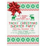 Red and green ugly Christmas sweater party invitation front
