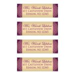 Best purple, hot fuchsia pink and gold ethnic wedding return address mailing labels with scrolls, swirls, hearts