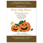 Jack 'O Lantern Pumpkin Halloween Baby Shower Invitation - Brown