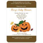 Jack 'O Lantern Pumpkin Halloween Baby Shower Invitation - Brown