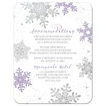 Purple, silver and white snowflake flourish winter wedding accommodations insert card front